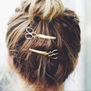 NEW ~ SCISSORS BOBBY PINS GOLD TONE